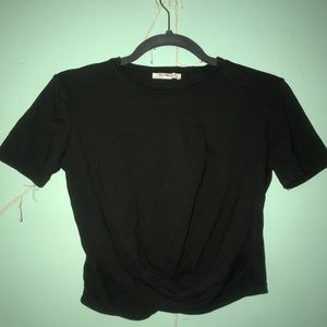 Black Knotted Crop Top